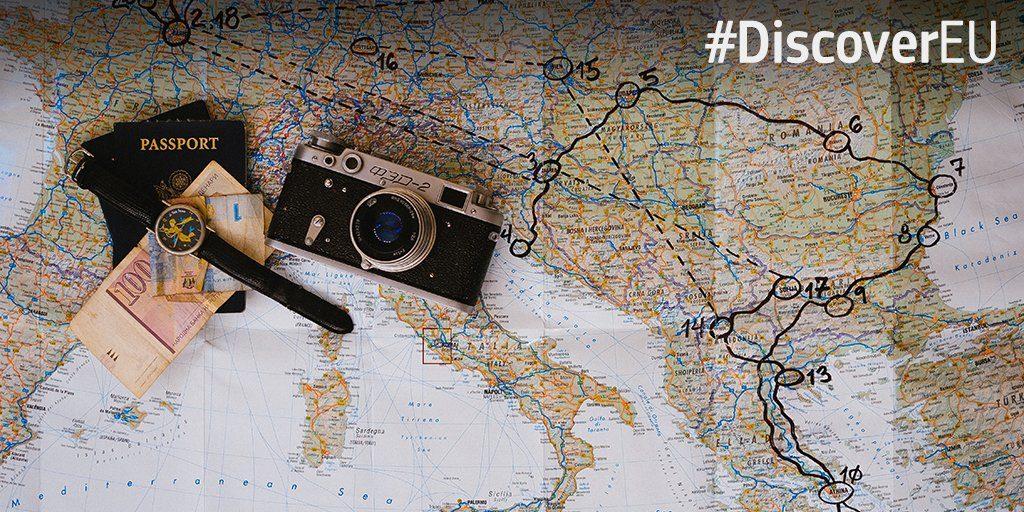 Térkép fényképezővel, illetve a DiscoverEU hashtaggel.